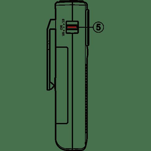 DT-250 디지털 휴대용 라디오 좌측면 투시도