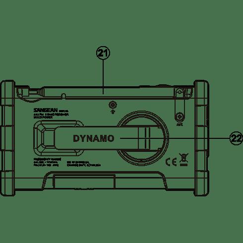 MMR-88 디지털 자가발전 라디오 후면 투시도