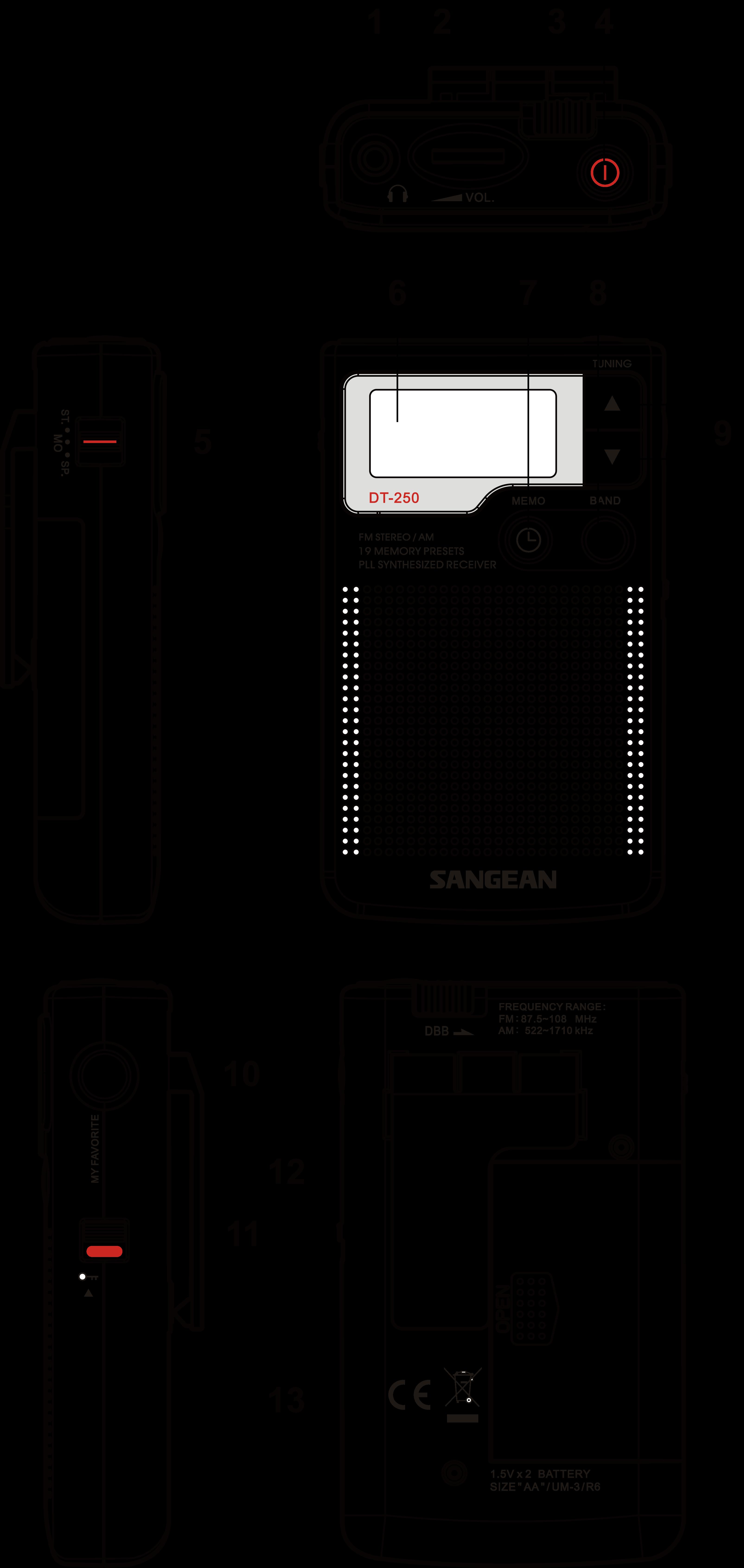 DT-250 휴대용 디지털 라디오 제품 도면